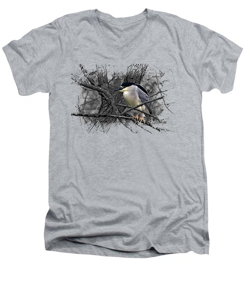 Black Crowned Night Heron 001 Men's V-Neck T-Shirt