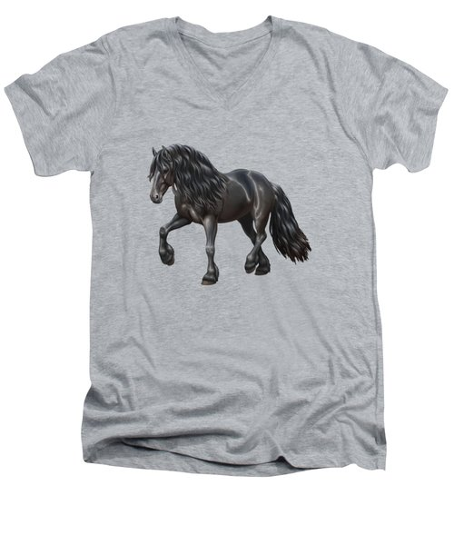 Black Friesian Horse In Snow Men's V-Neck T-Shirt by Crista Forest