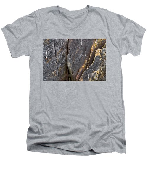 Men's V-Neck T-Shirt featuring the photograph Black Granite Abstract Two by Peter J Sucy