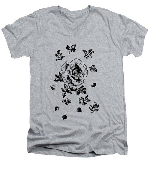 Black Graphic Rose Men's V-Neck T-Shirt