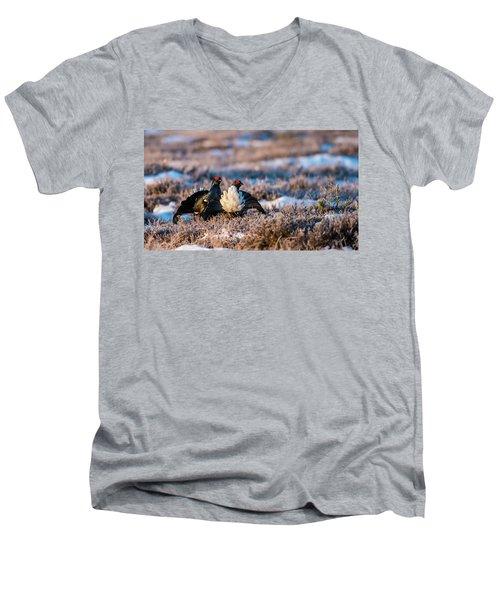 Black Grouses Men's V-Neck T-Shirt by Torbjorn Swenelius