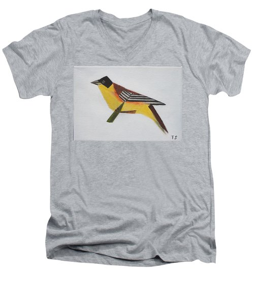 Black-headed Bunting Men's V-Neck T-Shirt by Tamara Savchenko