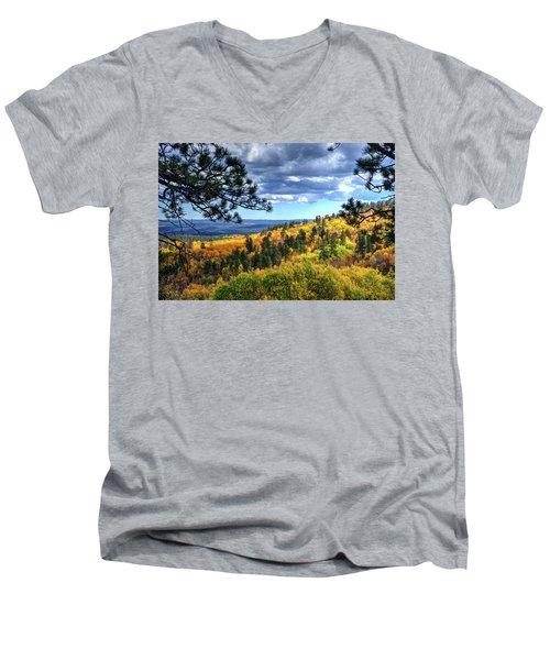 Black Hills Autumn Men's V-Neck T-Shirt by Fiskr Larsen