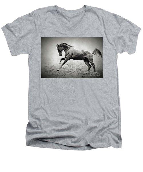 Black Horse In Dust Men's V-Neck T-Shirt