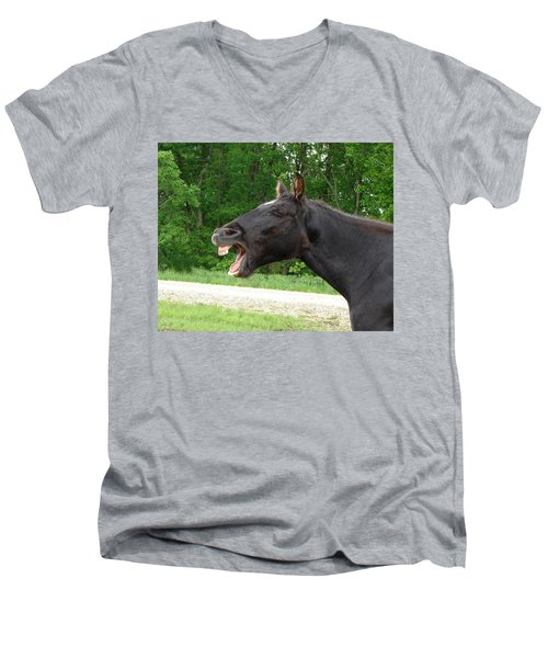 Men's V-Neck T-Shirt featuring the digital art Black Horse Laughs by Jana Russon