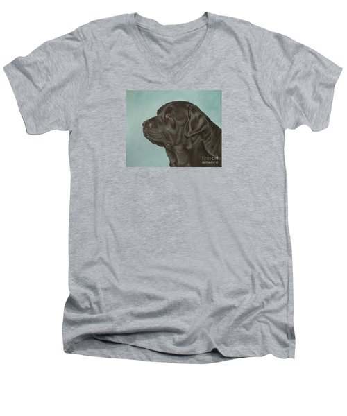 Black Labrador Dog Profile Painting Men's V-Neck T-Shirt