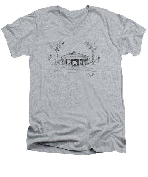 black lines on transparent background 10.28.Islands-8 Men's V-Neck T-Shirt