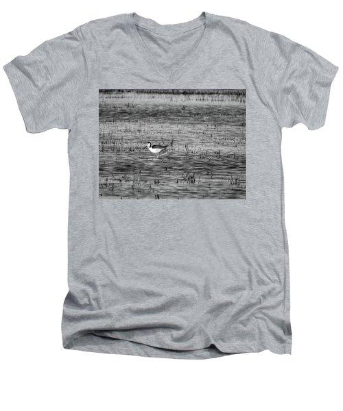 Black-necked Stilt Monochrome  Men's V-Neck T-Shirt