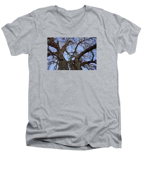 Men's V-Neck T-Shirt featuring the painting Black Oaks by Mark Greenberg