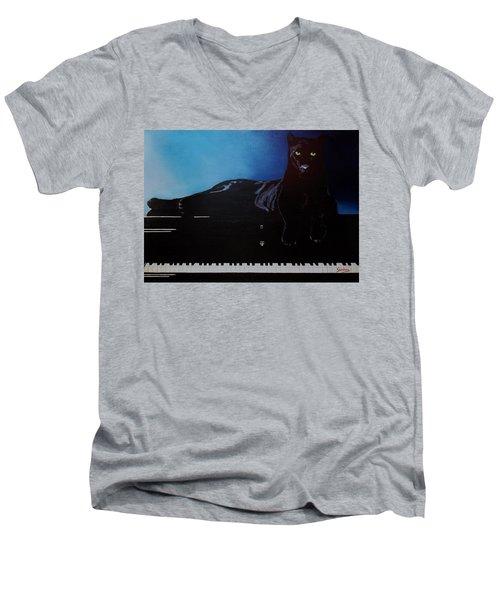 Black Panther And His Piano Men's V-Neck T-Shirt by Manuel Sanchez