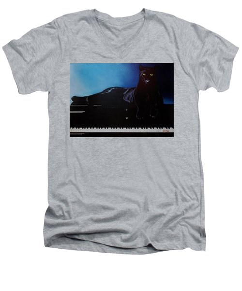 Black Panther And His Piano Men's V-Neck T-Shirt