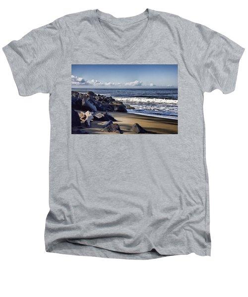 Black Sand Beach  Men's V-Neck T-Shirt by Douglas Barnard