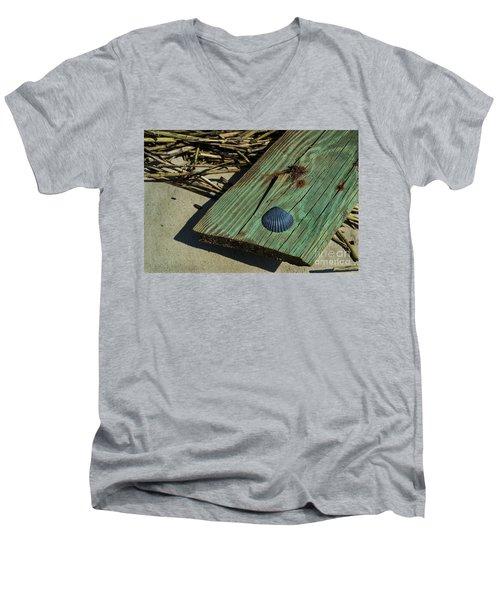 Black Shell On Green Wood Men's V-Neck T-Shirt
