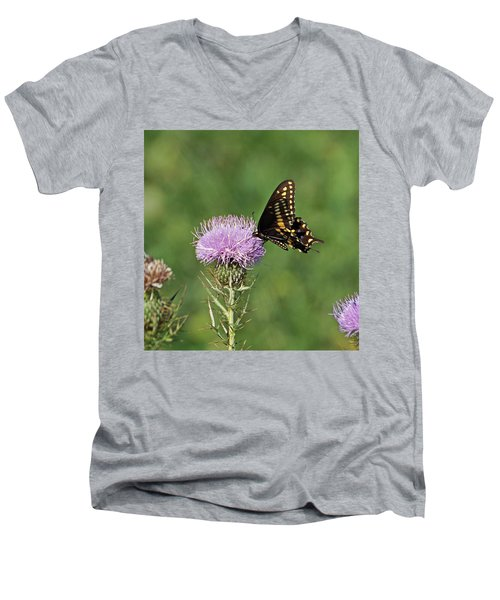 Men's V-Neck T-Shirt featuring the photograph Black Swallowtail Butterfly by Sandy Keeton
