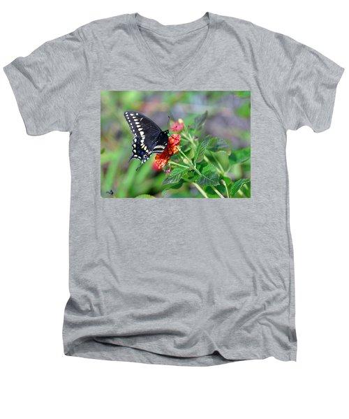 Black Swallowtail Men's V-Neck T-Shirt by Kay Lovingood