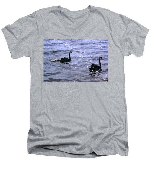 Black Swan Family Men's V-Neck T-Shirt by Cassandra Buckley
