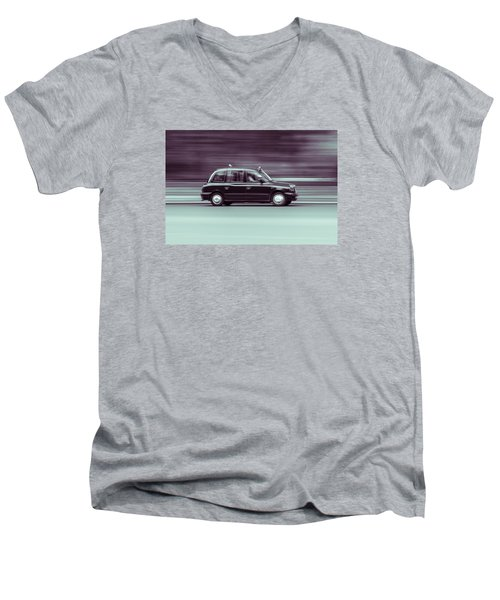 Black Taxi Bw Blur Men's V-Neck T-Shirt