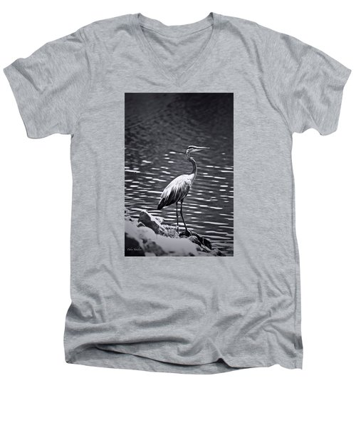Men's V-Neck T-Shirt featuring the photograph Black/white  Heron by Debra     Vatalaro