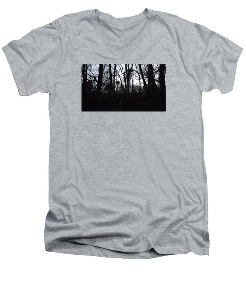 Men's V-Neck T-Shirt featuring the photograph Black Woods by Don Koester