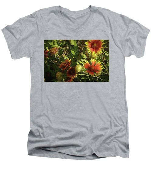 Men's V-Neck T-Shirt featuring the photograph Blanket Flower by Donna G Smith