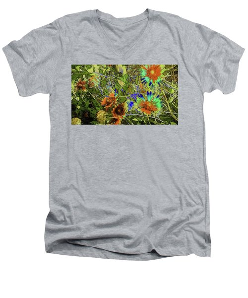 Men's V-Neck T-Shirt featuring the photograph Blanket Flower II by Donna G Smith