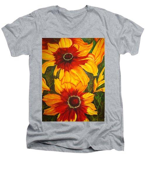 Blanket Flower Men's V-Neck T-Shirt by Lil Taylor