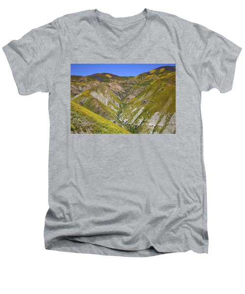 Blanket Of Wildflowers Cover The Temblor Range At Carrizo Plain National Monument Men's V-Neck T-Shirt by Jetson Nguyen