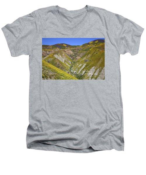 Blanket Of Wildflowers Cover The Temblor Range At Carrizo Plain National Monument Men's V-Neck T-Shirt
