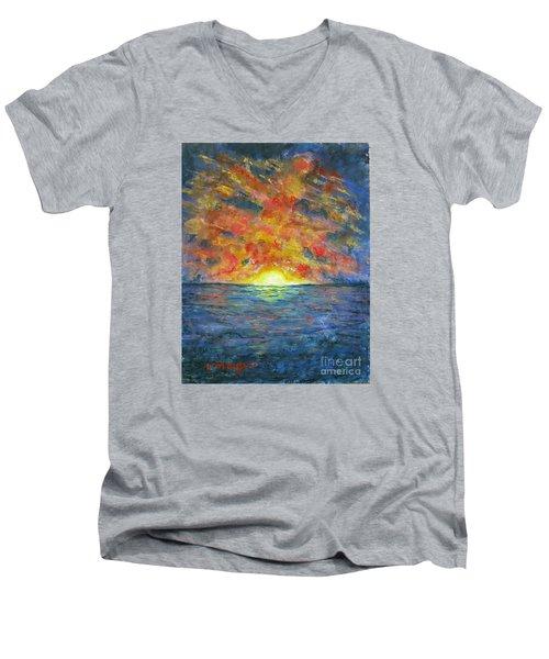 Blazing Glory Men's V-Neck T-Shirt by Laurie Morgan