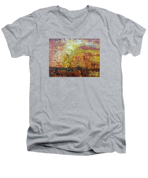 Men's V-Neck T-Shirt featuring the painting Blazing Prairie by Jacqueline Athmann