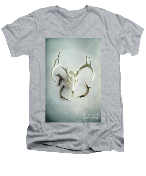 Bleached Stag Skull Men's V-Neck T-Shirt by Stephanie Frey