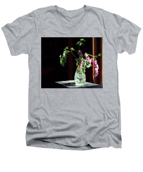 Bleeding Heart Bouquet Men's V-Neck T-Shirt by Joy Nichols