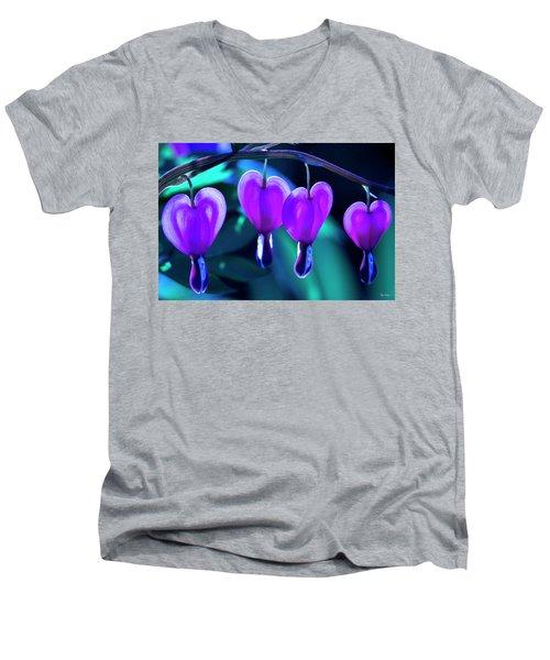 Bleeding Hearts In Moon Light Men's V-Neck T-Shirt by Skip Tribby