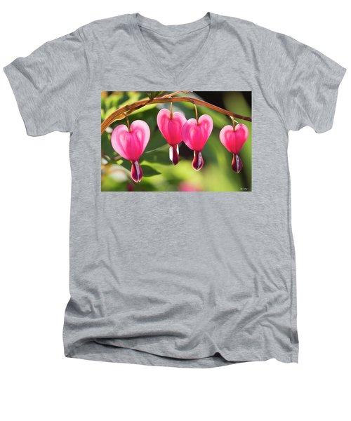 Bleeding Hearts Men's V-Neck T-Shirt by Skip Tribby