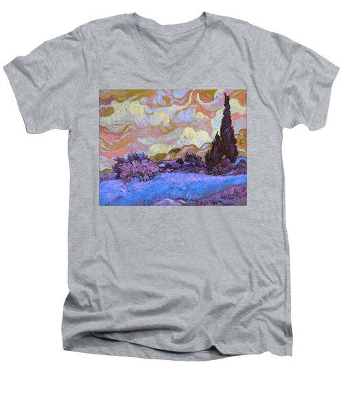 Blend 20 Van Gogh Men's V-Neck T-Shirt by David Bridburg