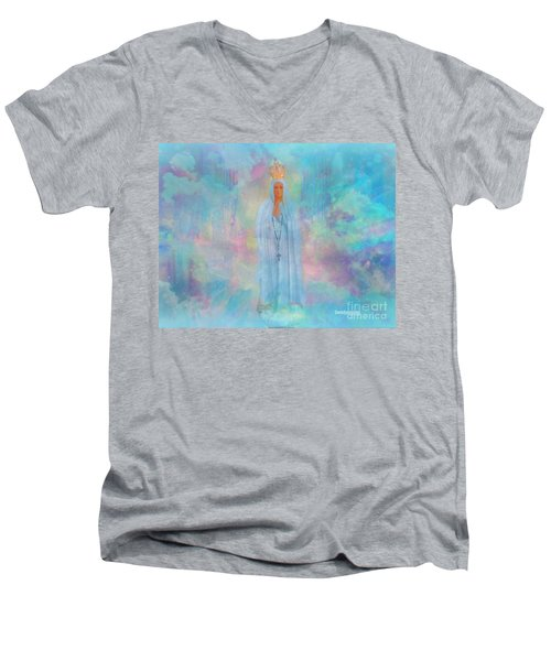 Blessed Mother Of Jesus Men's V-Neck T-Shirt by Sherri's Of Palm Springs