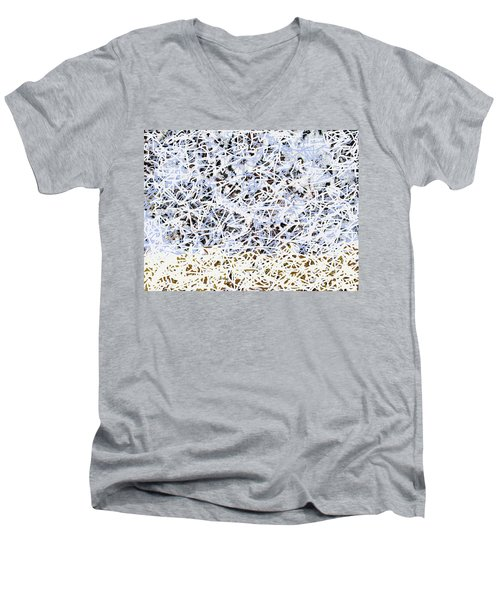 Men's V-Neck T-Shirt featuring the digital art Blizzard Homage To Jackson by Walter Fahmy