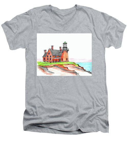 Block Island South Lighthouse Men's V-Neck T-Shirt by Paul Meinerth