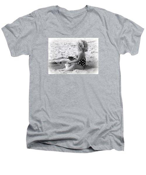 Blond Beach Baby Men's V-Neck T-Shirt by Lori Seaman