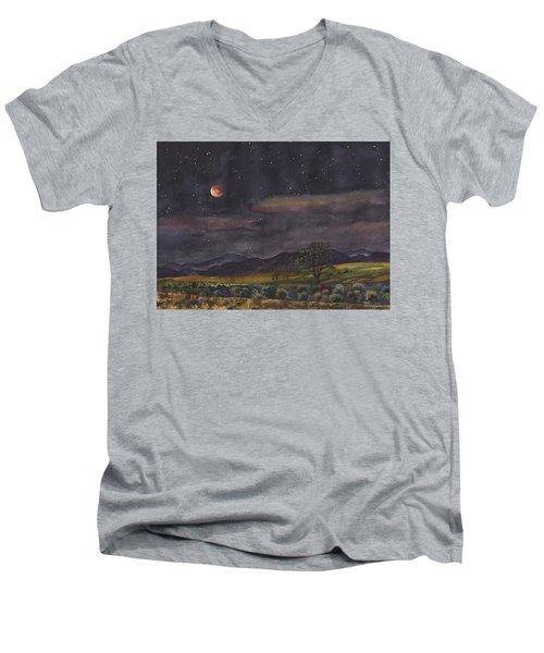 Blood Moon Over Boulder Men's V-Neck T-Shirt by Anne Gifford