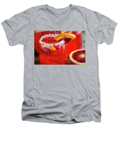 Men's V-Neck T-Shirt featuring the photograph Blood Orange Margaritas On The Rocks by Teri Virbickis
