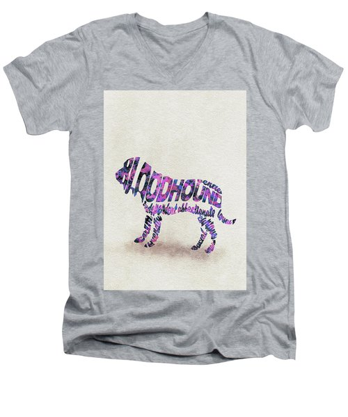 Men's V-Neck T-Shirt featuring the painting Bloodhound Dog Watercolor Painting / Typographic Art by Ayse and Deniz