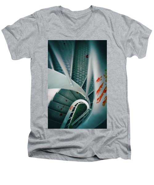 Men's V-Neck T-Shirt featuring the photograph Bloody Stairway by Carlos Caetano