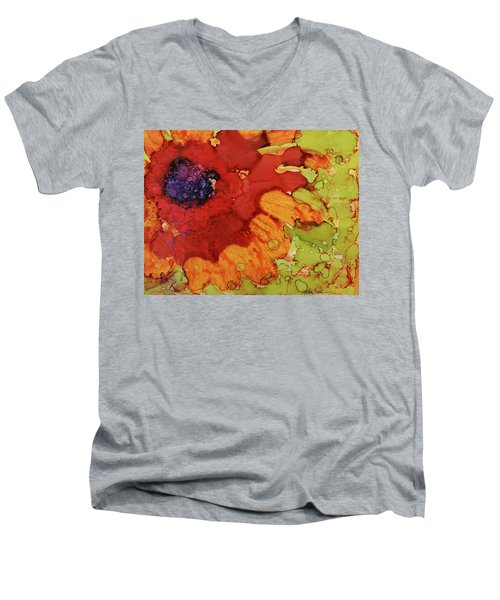 Blooming Cactus Men's V-Neck T-Shirt by Cynthia Powell