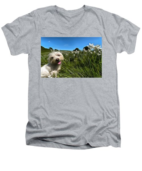 Blooming Daffodils In The Antola Park With Maltese II Paint Men's V-Neck T-Shirt
