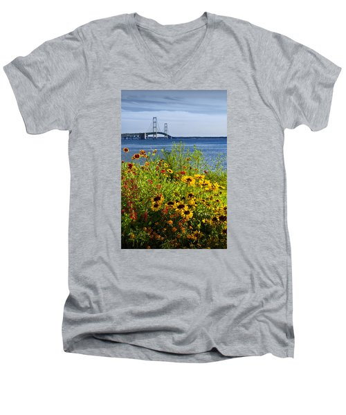 Blooming Flowers By The Bridge At The Straits Of Mackinac Men's V-Neck T-Shirt by Randall Nyhof