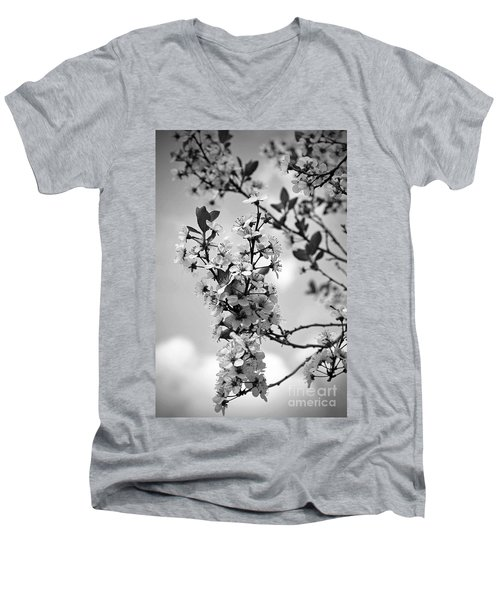Blossoms In Black And White Men's V-Neck T-Shirt by Sue Stefanowicz