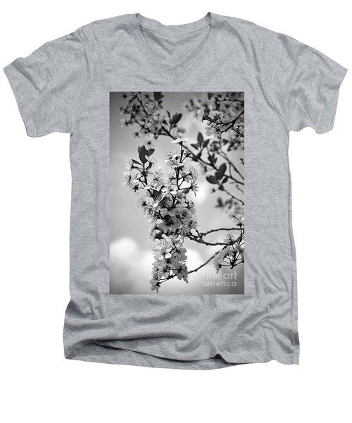 Blossoms In Black And White Men's V-Neck T-Shirt