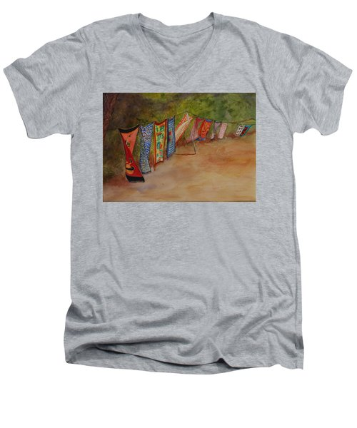 Men's V-Neck T-Shirt featuring the painting Blowin' In The Wind by Ruth Kamenev