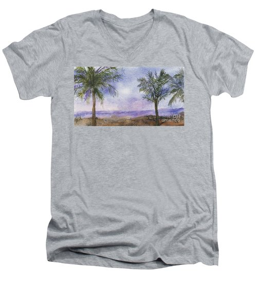 Men's V-Neck T-Shirt featuring the painting Blowing By The Ocean by Vicki  Housel